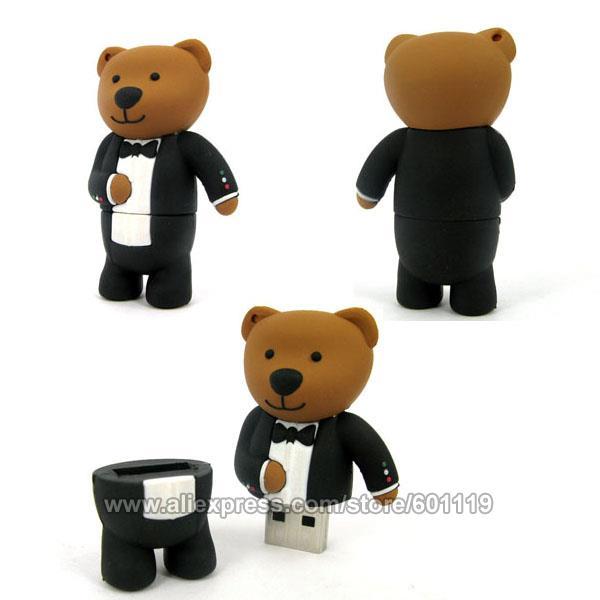4GB 8GB 16GB 32GB Waterproof Real Capacity Cute Bear Shape USB 2.0 Flash Memory Drive pendrive Stick thumb Car Key Pen(China (Mainland))