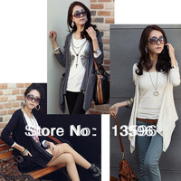 Fashion Korea Open Front Women&#39;s Long Sleeve shirt Rivet Cardigan Asymmetric Hem Tops Outerwear T-shirt 3 Colors , Free Shipping