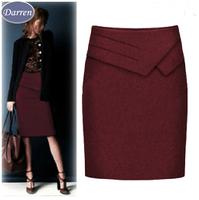 4 color Twill Thicken High Waist Ruffles Knee-Length Women Work Wear Skirts 2014 Formal Straight Skirt Suit Ladies