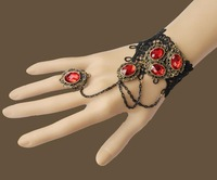 gothic jewelry black lace red crystal bracelet with rings fashion women bracelets & bangles cosplay vampire trendy accessories