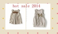 2014 baby girl children dress grey simple style 2-8 years old  free shipping