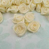 400 Ivory Satin Rose Flower Scrapbooking Wedding Cardmaking Party Decoration Craft Applique 15mm