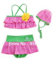 Pink Color Children's Cute Dotted Style Bikini Lovely Kid's Mini-Bikini Suitable for 2-6 years old Girls (2906)