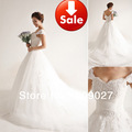 Off the Shoulder White Sweetheart Lace Tulle Beading Train A line Bridal ball gowns Wedding dresses 2013
