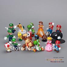Wholesale Retail Free Shipping Plastic Super Mario Bros PVC Action figures Toys Dolls 18pcs/set SMFG037(China (Mainland))