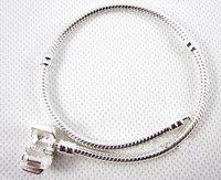 5pcs/ lot, High quality,Free shipping,Wholesale Fashion Jewelry,  925 silver snake Chain Bracelet for glass beads charm bracelet