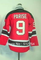 Free Shipping, #9 Zach Parise Kids/Youth Hockey Jersey,Ice Hockey jersey,Embroidery logos,size S--XL,Accept Mix Order