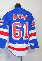 Free Shipping, #61 Rick Nash Kids/Youth Hockey Jersey,Ice Hockey jersey,Embroidery logos,size S--XL,Accept Mix Order