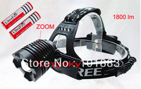 1800 Lumen Zoomable CREE XM-L T6 LED 18650 Zoom HeadLamp HeadLight + Charger