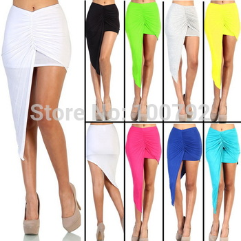 8 Color Asymmetrical Draped  Skirt Bandage Summer Women New 2014 Vintage Geometric Party Cotton Maxi Long Skirt