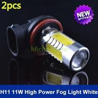 New Arrival H11 High Power 11W LED DC 10v-24v CREE XP-E Xenon White HeadLight LED Bulb Fog Lamp Free Shipping 2pcs/lot