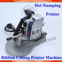 Frete Grátis Máquina Manual Hot Stamp Coding Printer + 2 Fita Ouro Preto Rolls Codificação Data 0-9 No. + 26 AZ inglês Charactors(China (Mainland))