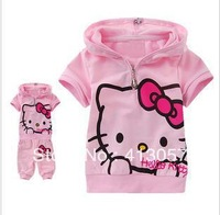 Best selling children suit girl 2peice set baby girl's hello kitty short sleeve suit F025