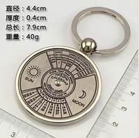 500pcs/lot Unique Compass Metal KeyChain Ring 50 years perpetual calendar Keyring keyfob logo custom +Fedex/DHL free shipping