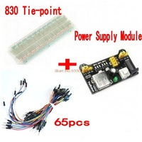 3.3V/5V MB102 Breadboard power module+MB-102 830 points Solderless Prototype Bread board kit +65 Flexible jumper wires $7.32