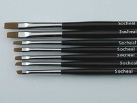 [AE626]7 pcs Black Nail Art Brush Set for UV Gel Builder Dropshipping [Retail] #BR11017