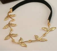 Fashion New Designer Leaf Wedding Hair Accessories 18K Gold Plated Leaf Metal Hairband AF060