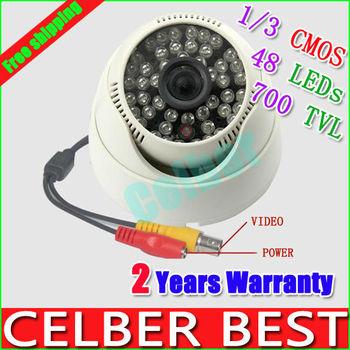 The Video Cameras 1/3 Color Cmos 700 TVL,48 LEDs Bullet Camera CMOS IR Dome CCTV Camera Free Shipping