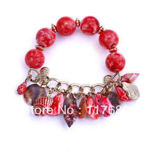 Fashion Jewelry Wholesale Vintage Natural Shell Conch Link Chain Bracelet Free Shipping Mix Order $15(China (Mainland))