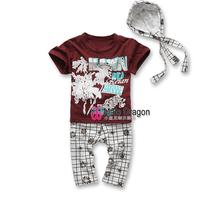 2015 christmas hot sale roupas infantil meninas baby boys cotton print sports summer suit next boy peppa natal clothing set