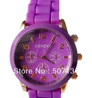 2013 Unisex Geneva Quartz watch  50pcs/lot  fashion men's women rubber candy jelly silicone candy watches Free shipping
