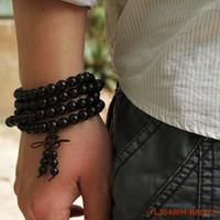 108*8mm Genuine Black Sandalwood Beads Buddha Malas True Religious Men Bracelet Healthy Jewelry Wrist Mala Factory Free Shipping