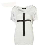 Free shipping Blouses For Women 2014 Summer new fashion Slim pitfall black cross t shirts large size women's clothing T069