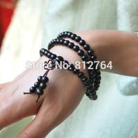 Health Handwear 108*6mm Genuine Black Sandalwood Beads Long Wrap-around Bracelets Buddhist Girl Rosary Prayer Mala Free Shipping