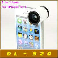 God's Eye Professional kit Fisheye Wide-angle Macro 3 in 1 camera Detachable lens for iPhone 5s 5,Free shipping 100pcs/lot