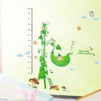 60-180cm Green Pea Kids Wall Decals Height Measurment Chart Nursery Sticker Art