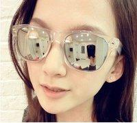 Free Shipping Fashion Big Clear Frame Reflections Mirror Sunglasses/ladies`glasses Promotion Sun Glasses Big Size Sale Women Men