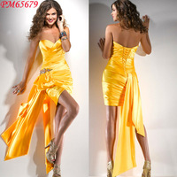 Free Shipping 2013 Sexy Mini Sweetheart Side Trail Pleated Satin Cocktail Dress Evening Yellow Short