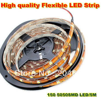 Clearance sale High quality 5m/150LEDs 5050SMD Flexible LED Strip Light  white Waterproof  IP65  free shipping