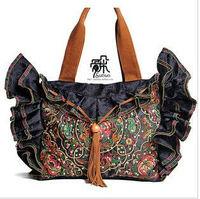 Handmade national trend embroidered women's handbag personalized messenger bag fashion scrub canvas