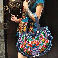 Personality national trend women's handbag handmade embroidered fashion one shoulder cross-body canvas denim bag