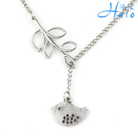 Free Shipping 12PCS/LOt Lovely Small Bird Leaf Alloy Charm Necklace Spike Ladies' Fashion Costume Necklace Jewelry NS0022