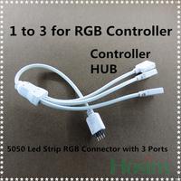 (NO: C6) Free shipping, 3pcs/lot, 1 to 3 ports for RGB Led Strip controller, RGB controller Splitter, RGB HUB/ Strip HUB.