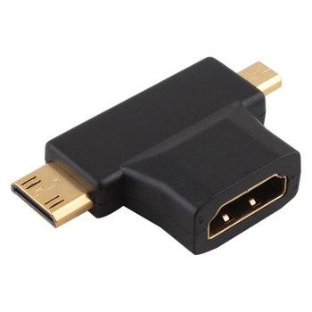 New HDMI Female to Mini Micro HDMI Male V1.4 90 Degree 2 in 1 Convertor Adapter   #23667