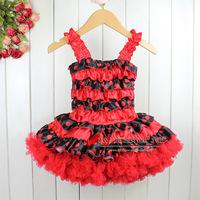 Wholesale 2014 Girl Dresses Chiffon Tutu Red Flower Dress Baby Sleeveless Children Summer Clothing Free Shipping TD30122-08^^EI