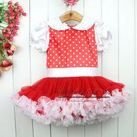Free Shipping Kids Petti Tutu Dress Red Dot Fluffy Lovly Girls Ballet Dresses Infant Summer Wear Children Clothes TD30122-13^^EI