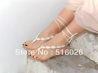 Barefoot sandals, crochet nude shoes, delicate flower chain, foot jewelry, beach sandals, yoga, sexy, 25pair/lot