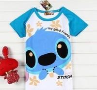 Women cute stitch women's raglan sleeve t-shirt lady t shirt