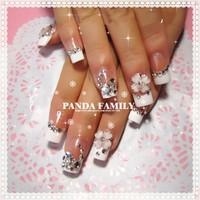 Beautiful Bride Pure manual nail art decorations French false nail design DIY drill full cover free shipping