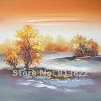 Free shipping Oil Paintings Painted by Hand Home/Hotel Decor  Modern Art Yellow Tree Wholesale Price