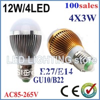 Free shipping 100x Dimmable Bubble Ball Bulb AC85-265V 12W E14 E27 B22 GU10 High power Globe light LED Light Bulbs Lamp Lighting