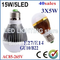 FREE SHIPPING 40x Dimmable Bubble Ball Bulb AC85-265V 15W E14 E27 B22 GU10 High power Globe light LED Light Bulbs Lamp Lighting
