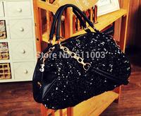 fashion  tote paillette Bling women messenger bag office lady  women leather handbags vogue shoulder bags