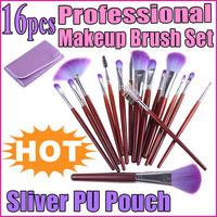 16 PCS Beauty Facial Makeup Brush Powder Set  Tools kits + Purple Pouch Bag  Free Shipping wholesale