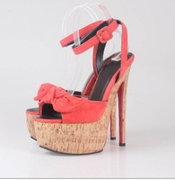 Newest design sexy Stiletto suede peep toe high heels shoes lady evening party pump shoes 17 cm