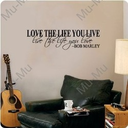Bob Marley Quote Wall Decal Decor Love Life Words Large Nice Sticker Text /Quote/Stickers Vinyl Wall Art Decals/Home Decor(China (Mainland))